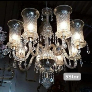Glass Chandelier - 8 Arms